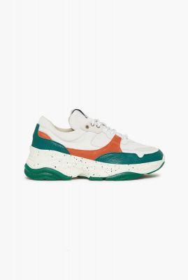 groen leren dad sneakers met dikke zool gavina groen 1606688