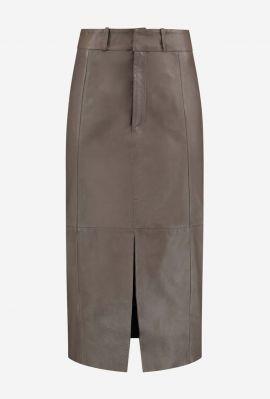 taupe kleurige leren rok met split detail gc carrie skirt