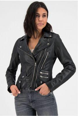 zwart leren biker jas met schuine rits lovemaker biker noos