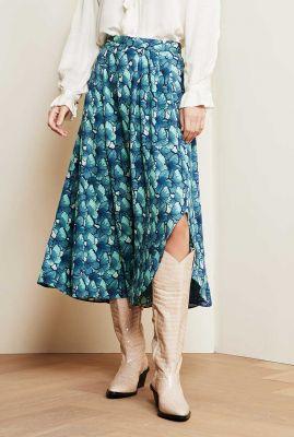 blauwe midi rok met vlinder dessin georgetta skirt