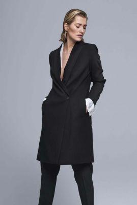 halflange mantel jas met revers en enkele knoopsluiting 6638261