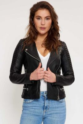 zwarte leren jas met asymmetrische rits biker116 noos