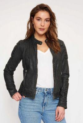 zwart leren jas met ritssluiting biker128 noos