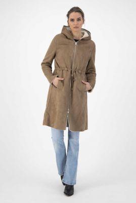 half lange reversible teddy en suède jas madelyn coat