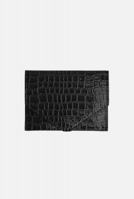 kleine zwarte faux leren portemonnee wallet croco h1383