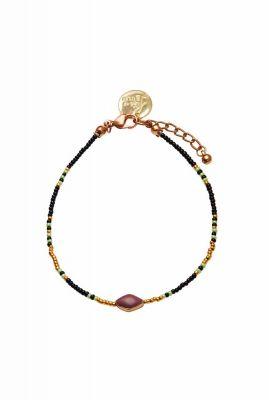 enkelband met kralen en steentje happy beads anklet
