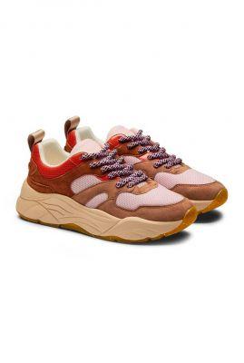 bruin roze suède dad sneakers celest 23733438