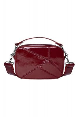 rode glanzende handtas met doorgestikt patroon medley h1335