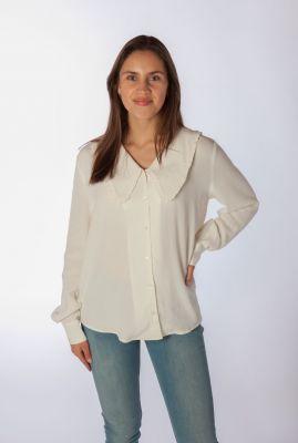 off white blouse met grote ruches kraag idalina shirt