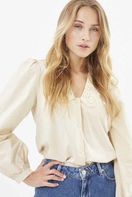 beige blouse met broderie kraag riani 1913 202431913