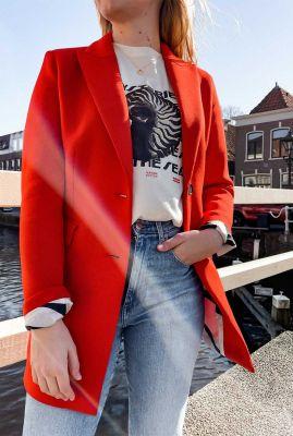 halflange rode blazer van scuba stof 6611220