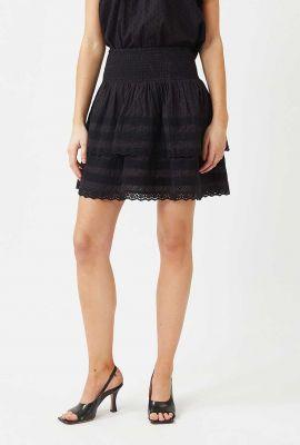 zwarte mini stroken rok met gesmokte tailleband ingalina 7487