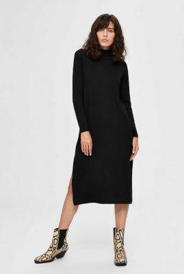 zwart gebreide midi jurk van wolmix inka knit dress 16076314