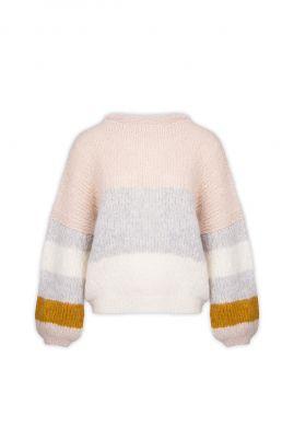 pastel gebreide trui met strepen en pofmouwen erica my7208