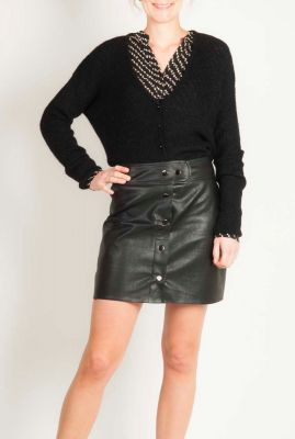 fijngebreid zwart vest met v-hals en kleine knoopjes irina cardigan