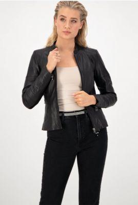 zwart leren jasje met ritssluiting jacket146 noos