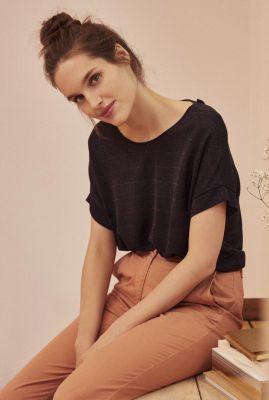 zwart t-shirt met gestreept glitter dessin joamo