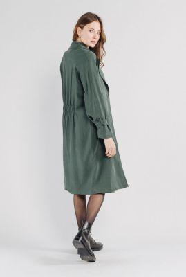 donker groene halflange trenchcoat jas van een viscosemix nala  56122