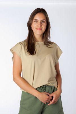 beige t-shirt met wijde aangeknipte mouwen jax t-shirt