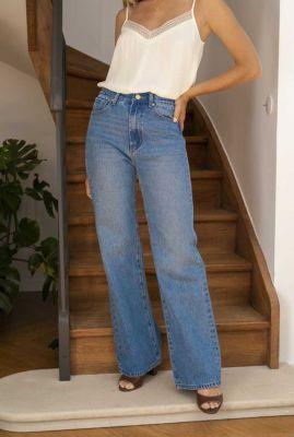 blauwe denim jeans met wijde pijpen zephyr