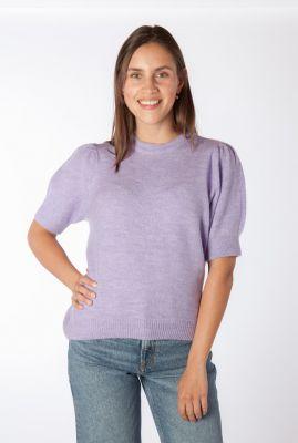 lila trui met half lange pofmouwen juliane o-neck
