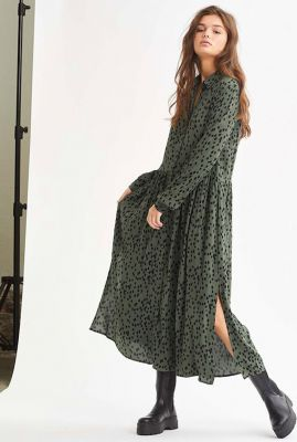donker groene blouse jurk met stippen dessin Ellia daria print