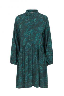 donker groene jurk van viscose met bloemen dessin Nagisa