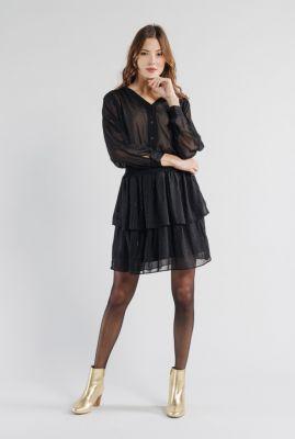 zwarte jurk met ingeweven stippen dessin en ruches sidonie 56213