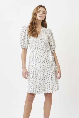 witte wikkel jurk met bloemen dessin en pofmouw lenelia ss 8068