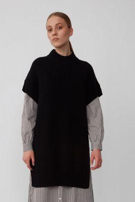 zwarte rib gebreide trui met hoge halslijn sophie high neck knit