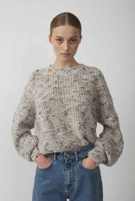 grijs gebreide gemêleerde trui met rib boorden almine knit