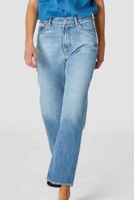 lichtblauwe high waist jeans met rechte pijpen alice k200101611