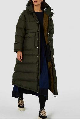 lange groene puffer jas met capuchon yasu k200702001