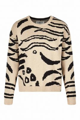 zand kleurige trui met tijger strepen dessin tiger jumper