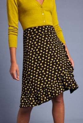 midi rok met ruches en all-over bladeren print ruffle skirt petal 04701