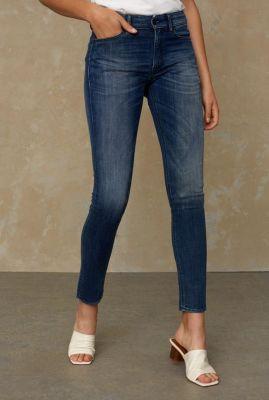 donkere slim fit jeans met high waist juno high K111101103