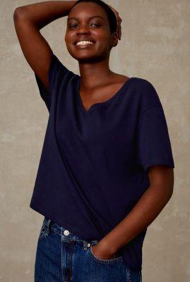 donkerblauw t-shirt met v-hals amarissa K210704003
