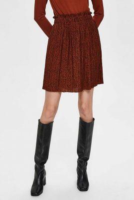 donker rode mini plissé rok kinsley plisse skirt 16074230