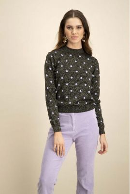 zwarte glitter trui met paarse stippen dots