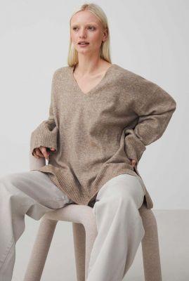 oversized wolmix trui met v-hals en lange mouwen kn milly