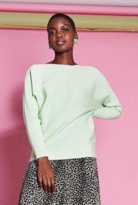 licht groene rib trui met vleermuis mouwen kn batsleeve rib