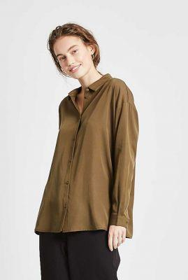 klassieke olijf groene blouse van zacht tencel koko 4054