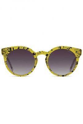 gele zonnebril met stippen dessin lulu acid groen kom-s2036