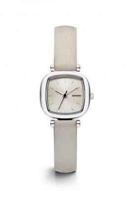 horloge met witte leren band en kleine kast moneypanny kom-w1232