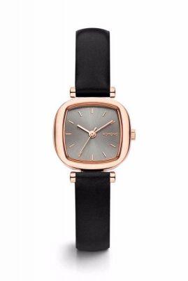 rosé kleurige horloge met leren band moneypenny black rose kom-w1233