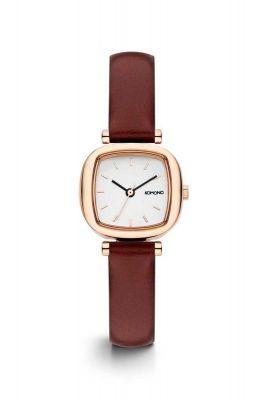 rosé gouden horloge met bordeaux rode band kom-w1234