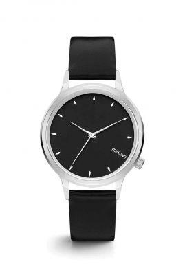 zilver rond horloge met zwarte band lexi black silver kom-w2755