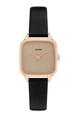 rosé gouden horloge met zwarte leren band kate kom-w4251