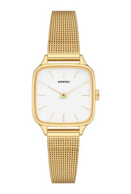 goudkleurige horloge met witte plaat kate kom-w4254