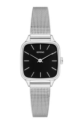 zilveren horloge met zwarte plaat kate royal kom-w4256